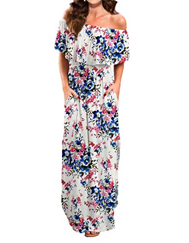 VERABENDI Women's Summer Off Shoulder Loose Plain Floral Maxi Dress Print Casual Long Dresses with Pockets