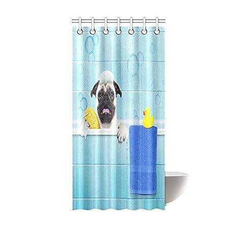 interestprint Pug perro en una bañera con amarillo pato de plástico y tela de toalla baño cortina de ducha Set, 72 x 72 cm: Amazon.es: Hogar