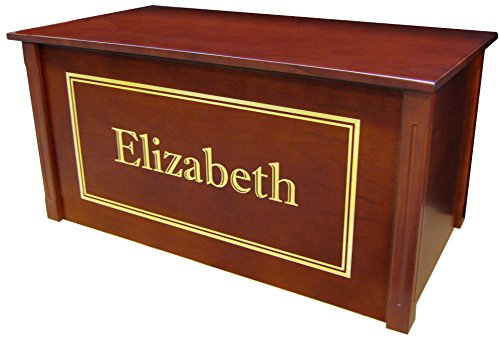 Wood Toy Box, Large Cherry Toy Chest, Personalized Shadow Font, Custom Options (Cedar Base - Gold Lettering) by Wood Toy Box
