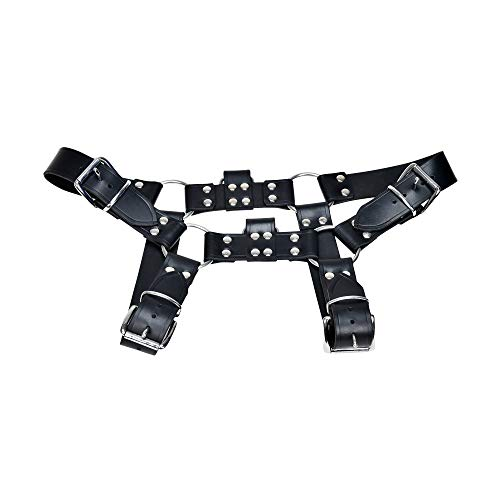 (Genuine Leather Premium Quality Men Body/Chest Harness Belt with Extra Strong Genuine Real Saddle/Latigo Leather )