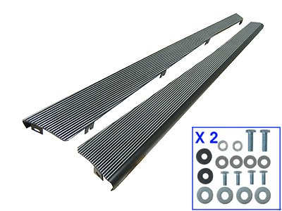 BILLET ALUMINUM RUNNING BOARDS, SATIN BLACK WITH POLISHED RIBS, LEFT AND RIGHT (Running Board Vw Bug compare prices)