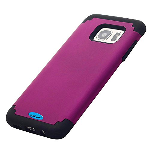 Galaxy S7 Edge Case,JanCalm Hard Soft Rubber Silicone Hybrid Shockproof Bumper Style Slim Fit Dual Layer Protective Cover for Samsung Galaxy S7 Edge (2016) + Crystal Pen (Purple/black)