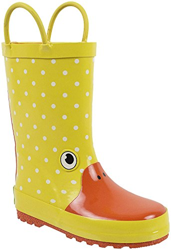 Rainbow Duck (Rainbow Daze Gone Quackers Yellow Duck Printed Rubber Rain Boots For Kids Size 2/3)