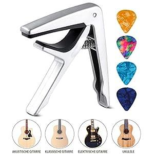 Kapodaster Gitarre Capo für Akustische Gitarre, E-Gitarre, Westerngitarre, Akustikgitarre, Konzertgitarre, Bass, Ukulele…