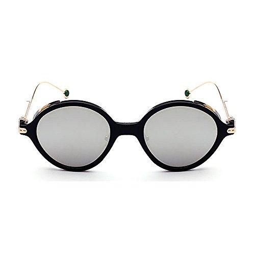 Lun lunettes couleur Placage élégant Lady de en la de plastique femmes pour Frame Rimmed de soleil Délicat conduite soleil rétro Print Style soleil Classique lunettes de pour les Argent lunettes unisexe Lens pAq5xfWwI