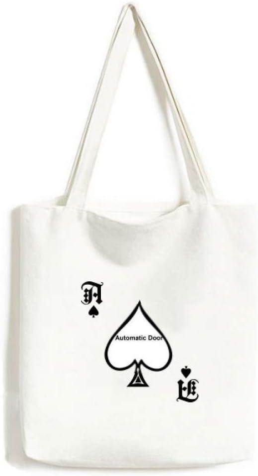 Bolsa de Mano con diseño de símbolo de Puerta automática, Color Negro, para Manualidades, Pala de póquer, Bolsa Lavable