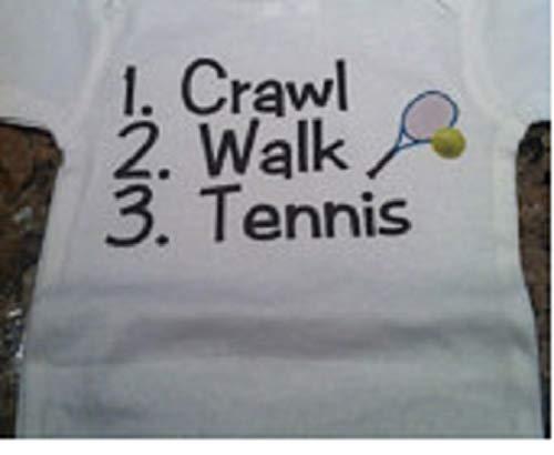 (crawl walk tennis baby one piece future tennis player infant bodysuit)