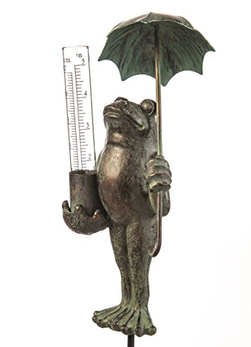 "Evergreen Garden Decorative Polystone and Metal Frog Statue with a Glass Rain Gauge - 4""W x 4""D x 18""H"