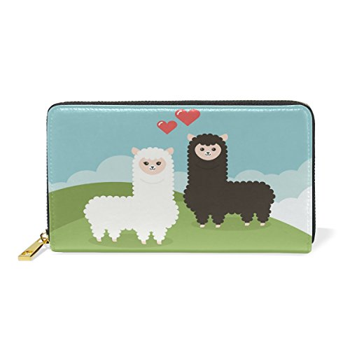Women Genuine Leather Wallet Alpacas Couple Zipper Purse Girl Phone Clutch by LiKai