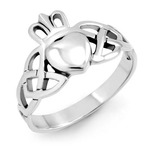 925 Sterling Silver Oxidized Irish Claddagh Friendship Celtic Knot Band Ring