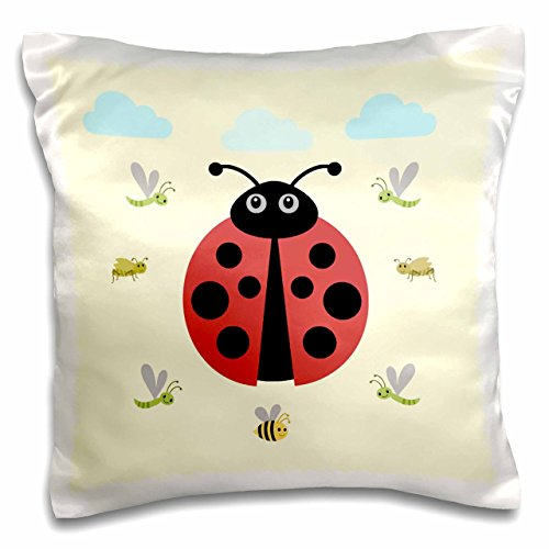 """3dRose pc_212031_1 Ladybug Design, Kids Room, Decoration, Yellow - Pillow Case, 16 by 16"""""""