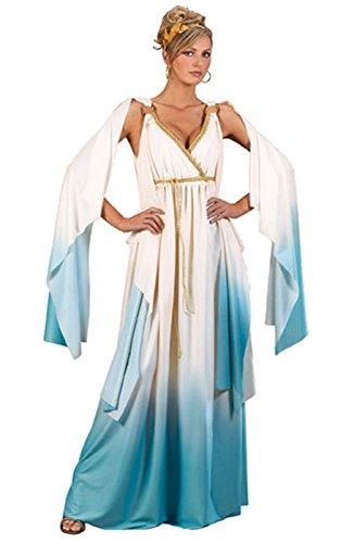 Fun World Greek Goddess Costume, Crème/Light Blue, Small/Medium 2-8