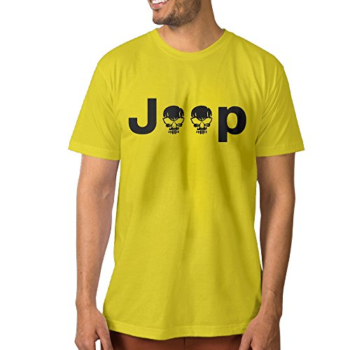 PTCYM Jeep Logo With Creative Skull Symbol Cool Men's Tshirt L Yellow