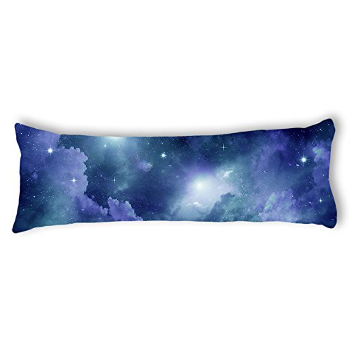 AILOVYO Space Nebula Universe Pattern Retro Galaxy Tribal Machine Washable Silky Shiny Satin Decorative Body Pillow Case Cover, 20-Inch x 54-Inch (Satin Pillowcase Body)