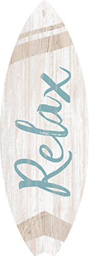 Surf Wood - P. GRAHAM DUNN Relax Surfboard Shaped 12 x 4 Wood Wall Plaque Sign