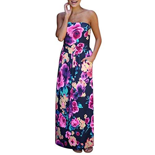 iBaste Mujer Sexy Playa Vestido Largo Estampado de Hoja de Plátano Boob Tube Top Maxi-Vestido con Bolsillo: Amazon.es: Ropa y accesorios