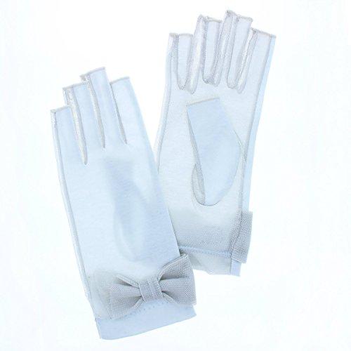 放つ電子レンジレキシコン(ローラ アシュレイ) Laura Ashley UVカット UV手袋 ショート 19cm丈 指切り 指なし 掌側メッシュ ひんやり触感 保湿効果 女性用Mサイズ