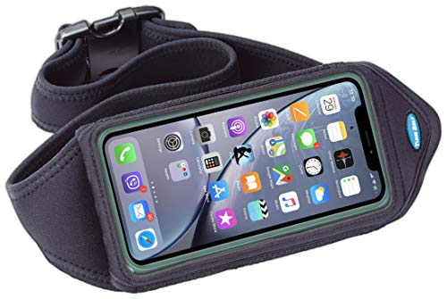Running Belt Compatible with iPhone X Xs Xr, Xs Max, iPhone 8 7 6s 6 Plus, Note 8 9, Galaxy S8 S9 Plus - Fits OtterBox Defender & Other Cases - for Working Out & Exercise - Sweat-Resistant [Black]