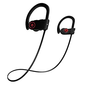 Otium Wireless Bluetooth Sports Headphones In-Ear Earbuds IPX7 Waterproof Earphones Stereo with Mic Bass Noise Cancelling Bluetooth V4.1 for iPhone Android Smartphones