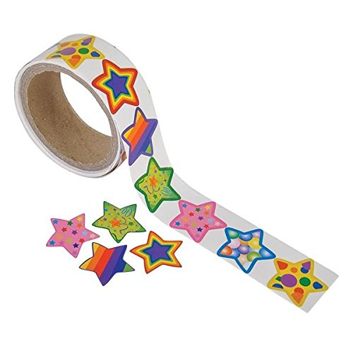[Funky Star Sticker Roll - 100 Stickers] (Roll Stickers)