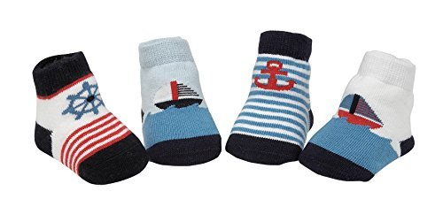 Country Kids Baby Boys' Soft Organic Cotton Rich Nautical Sailboat Striped Socks, Seamless Toe, 4 Pair Gift Set, Fits 3-12 months