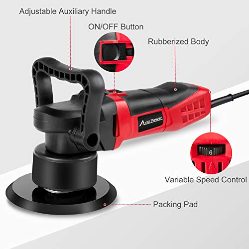 """Polisher, 6"""" Random Orbital Waxer/Buffer Kit With Dual-Action, Variable Speed, 3 Foam Pads for Car Waxing, Buffing and Polishing, Avid Power MEP127 by Avid Power (Image #1)"""