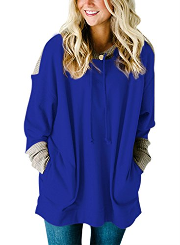 - HOTAPEI Women Sweatshirt Hooded Oversized Fit Tunic Long Sleeve T Shirt Pockets Knit Colorblock Top Blouses Pullover Hoodie Blue XL