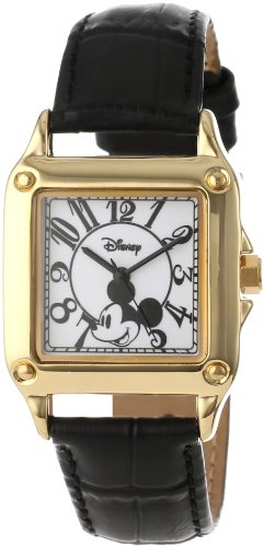 Disney Women's W000475 Mickey Mouse Gold-Tone Watch with Black Faux Leather Band (Mickey Mouse Tone Gold)