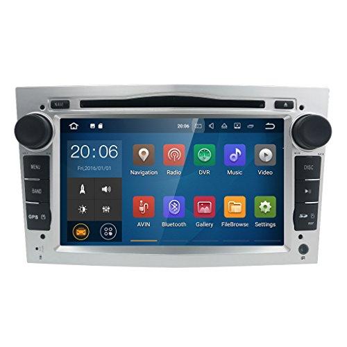 hizpo Android 8.0 Car Stereo DVD Player 2 Din 7 Inch in Dash GPS Navigation Suitable for Opel Vauxhall Holden Astra Antara Zafira Corsa Meriva Vivaro Tigra Vectra Twintop Combo (Silver)