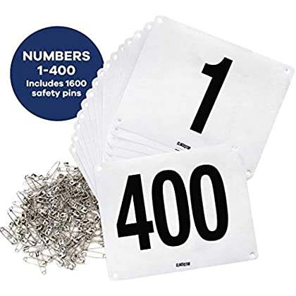 Image of Clinch Star Running Bib Large Numbers with Safety Pins for Marathon Races and Events - Tyvek Tearproof and Waterproof 6 X 7.5 Inches