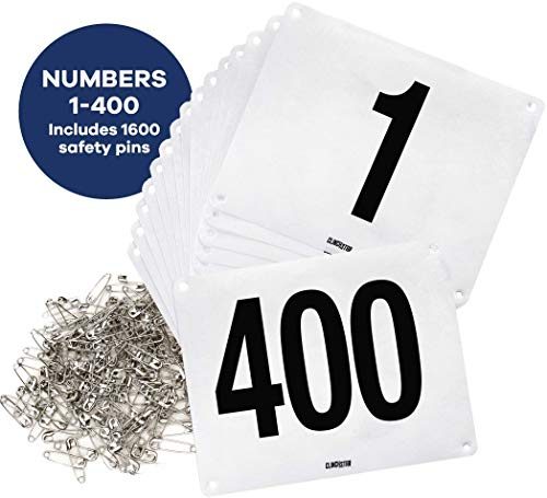 Clinch Star Running Bib Large Numbers with Safety Pins for Marathon Races and Events - Tyvek Tearproof and Waterproof 6 X 7.5 Inches (Numbers 1-400)