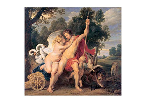 Spiffing Prints Peter Paul Rubens - Venus and Adonis Dark - Medium - Semi Gloss - Framed