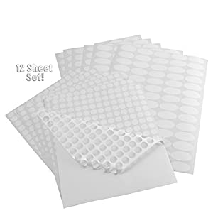 (12 Sheet Set) Essential Oil Bottle & Lid Labels; 1,668 Total Water & Oil Resistant Stickers for Organizing Aromatherapy Supplies, Nasal Inhalers, Cosmetics Jars and Roller Ball Bottles (White)