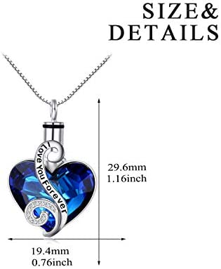 Aqua Love Heart Pendant Urn Love Charms\u2122 Option