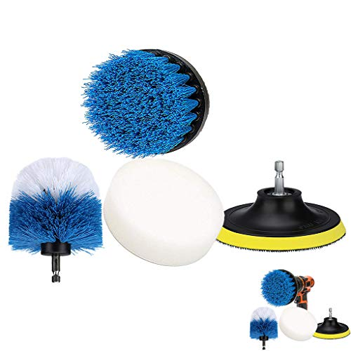 Maikouhai 4Pcs Drill Brush Kit, 4 Piece Scrub Brush Power Drill Cleaning Brush Tub Cleaner Combo Tool Kit Perfect for Cleaning Grout, Clean Your Home More Conveniently