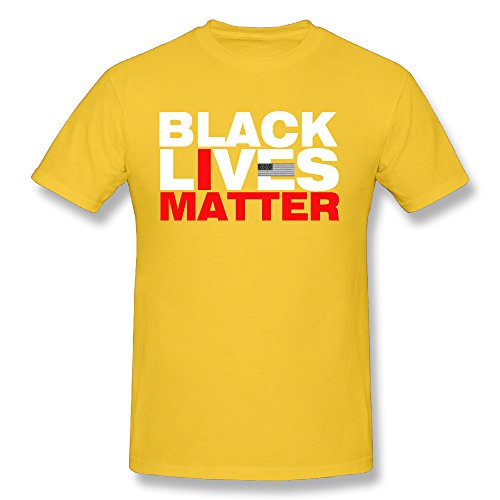 TANXJ Men's Black Lives Matter T-shirt - Gold Black Ambush