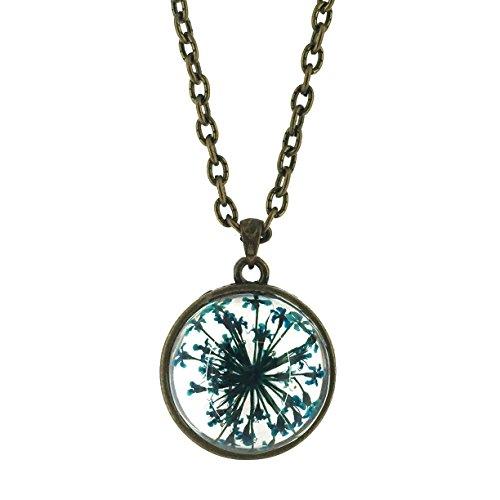 Teal Dried Flowerburst, Set in a Glass Globe Necklace Brz