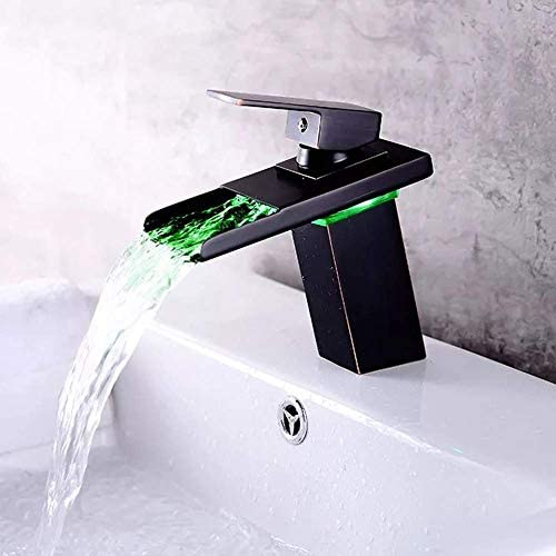 BXU-BG LEDインテリジェント温度制御アンチ火傷銅盆地鉛フリーブラックアンティーク蛇口、三色温度コントロール。