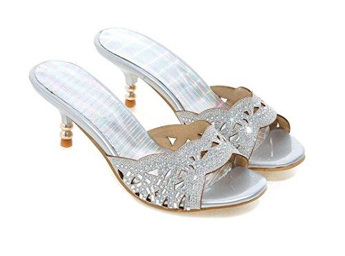 De Sandalias Hueco Verano Ocio 39 Diario Cm 39 Cómodo Y Impresión En Silver Silver Cool Zapatillas Señoras Compras Oro Plata 5 Xie Eq5nvv