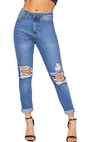Large Jeans Afflig Dames WearAll Dchirs Femmes Moyen Poche 34 Mom Jambe Bleu Nouveau 42 Pantalon qgptUpY