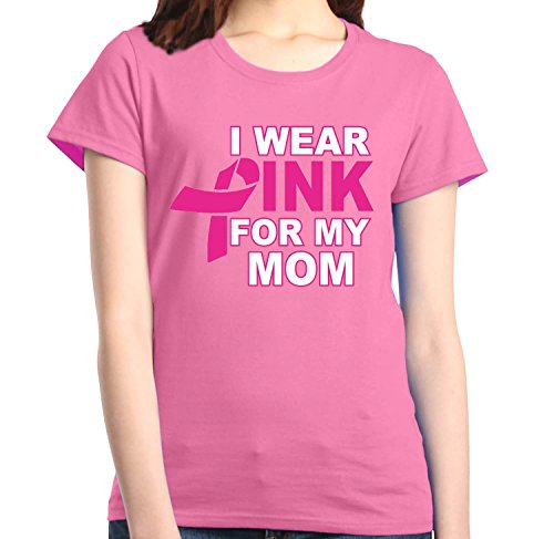 Shop4Ever I Wear Pink For My Mom Women's T-Shirt Breast Cancer Awareness Shirts Small Azalea Pink 0 - Wear Pink Breast