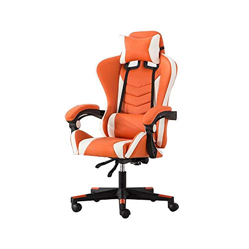 Bseack Gaming Chair, High Back Reclining Computer Chair Elevating Rotary Ergonomics E-Sports Chair with Headrest and Massage Lumbar Pillow (Color : Orange White)