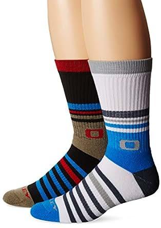Oakley Men's Striped Crew Socks, Electric Blue, Large