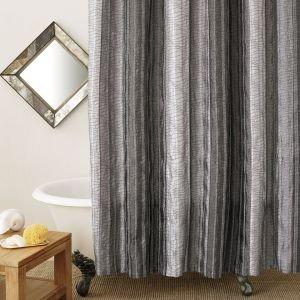 Sierra Onyx Shower Curtain Black Grey Silver Vertical Stripes By