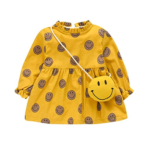 Halloween Face Zip Ideas (Mayunn 2-Pieces Infant Baby Girls Cotton Smiling Face Print Princess Thicken Dress+Bag Outfits Sets)