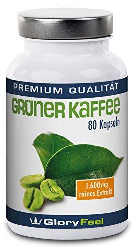 Grüner Kaffee Kapseln - Hochdosiertes, Reines Grüner Kaffee Extrakt + Vitamin C - 1.600 mg Green Coffee Pulver pro Tagesdosis (2 Kapseln) - 100% Natürlich und Rein - Premiumqualität Deutscher Herstellung
