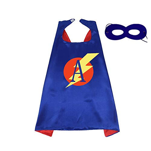 (RANAVY Superhero Capes for Kids/Adult with Masks-Flash Dress Up Birthday Party Favors 26 Letters 10 Numbers Initial Blue/Red)
