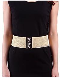 "HDE Women's Fashion Elastic Cinch Belt 3"" Wide Stretch Waist Band Clasp Buckle (Gold)"