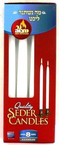 Ner Mitzvah Passover Seder Candles, Burns 8 Hours - 4 Pcs. (1 Pack)
