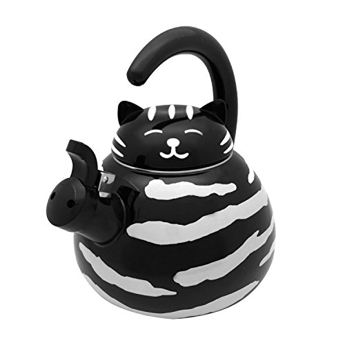 Supreme Housewares Gourmet Art Black Cat Enamel-on-Steel Whistling Kettle